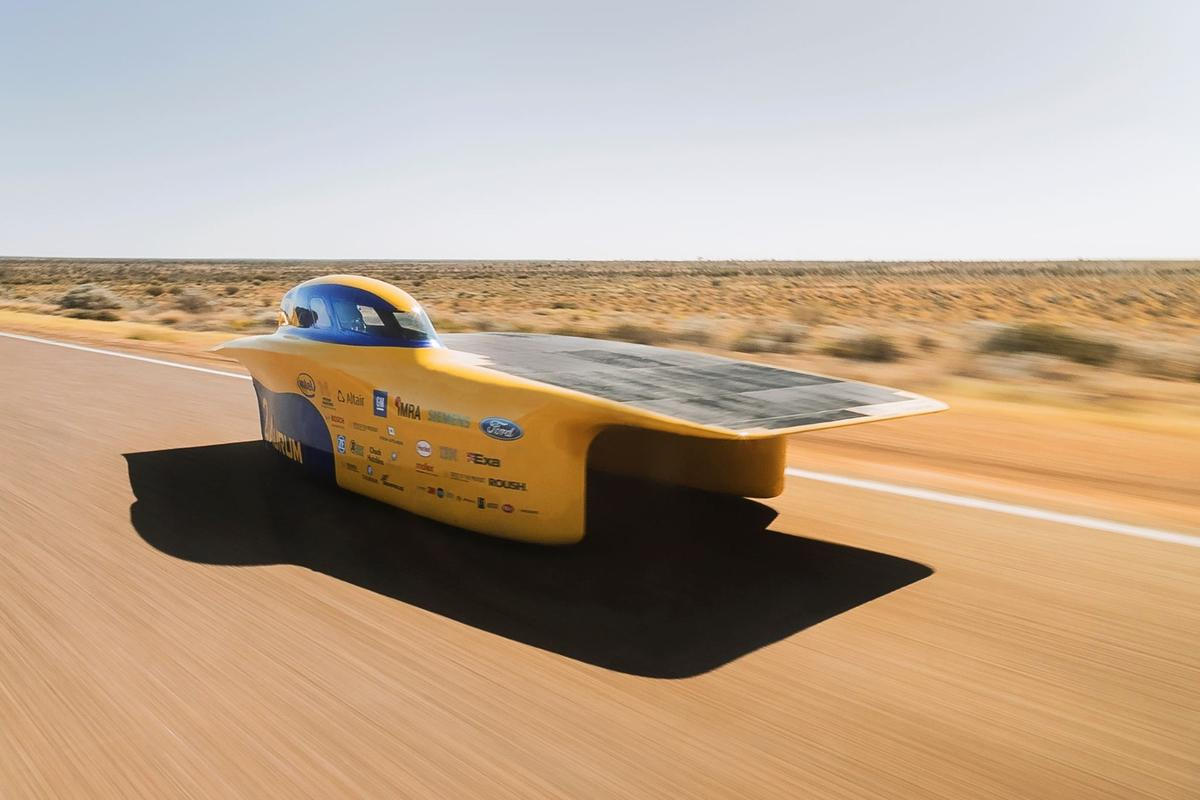 The University of Michigan's Aurum solar car features an asymmetrical catamaran body