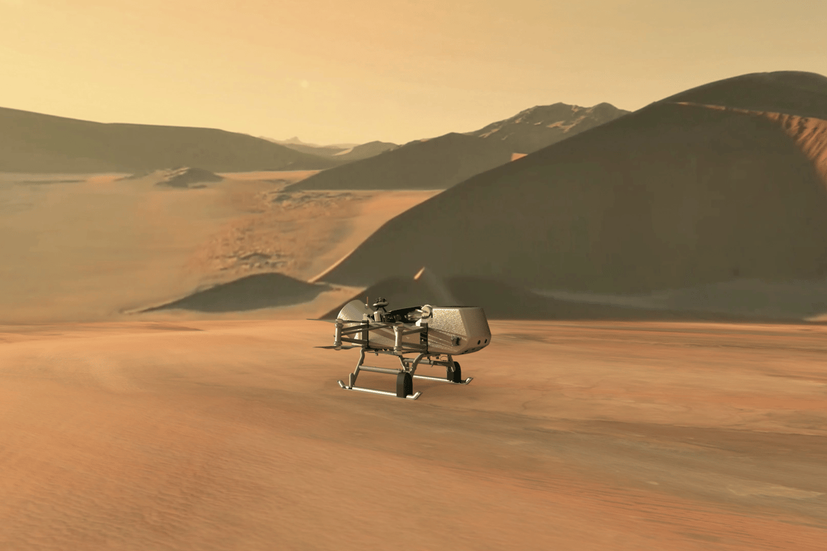 Artist's concept of the Dragonfly drone on Titan