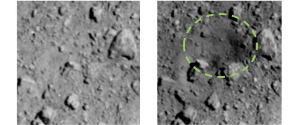 Before and after images of the impact site