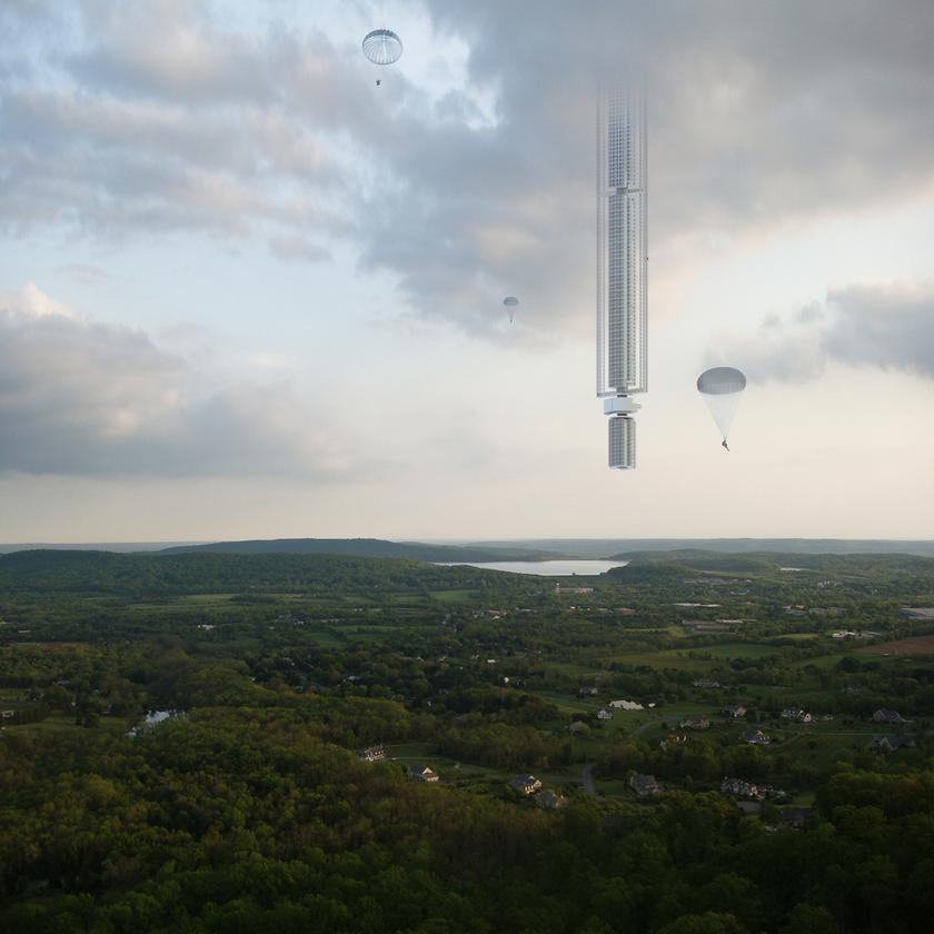 From Clouds Architecture Office comes this extraordinary concept for an upside-down skyscraper that hangs from an orbiting asteroid