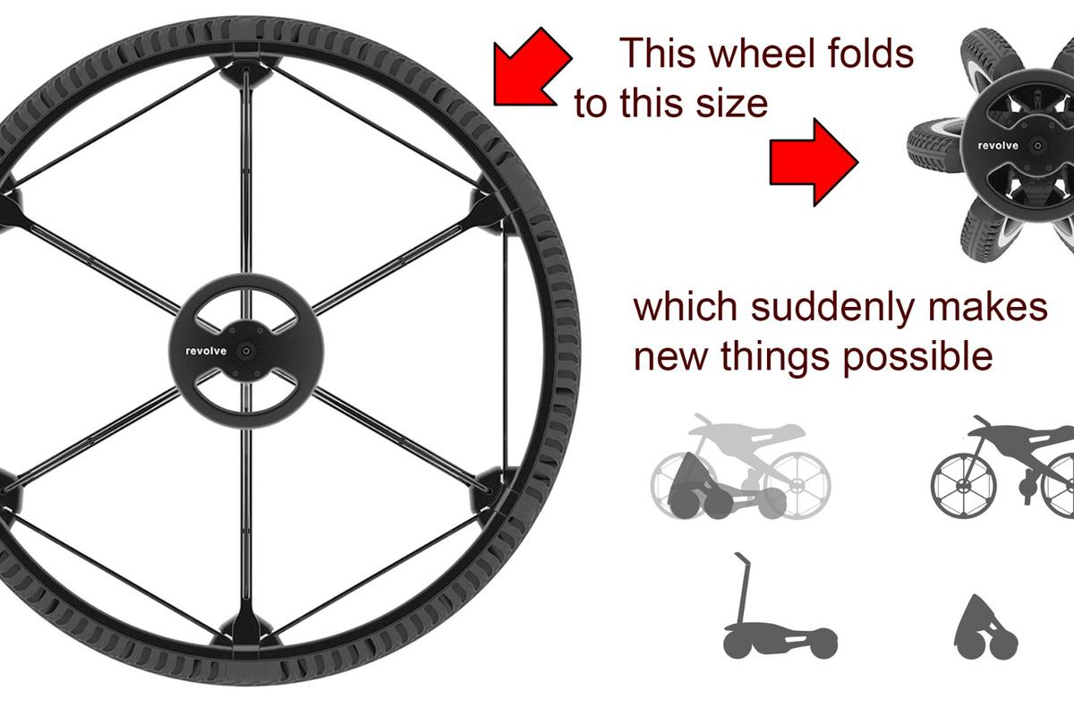 """""""I didn't design a wheel for single bicycle, but a wheel for many different products that can have the same full-sized bicycle wheel, but can now be folded and reduced in size in many different ways"""" Andrea Mocellin, founder of Revolve Wheel."""