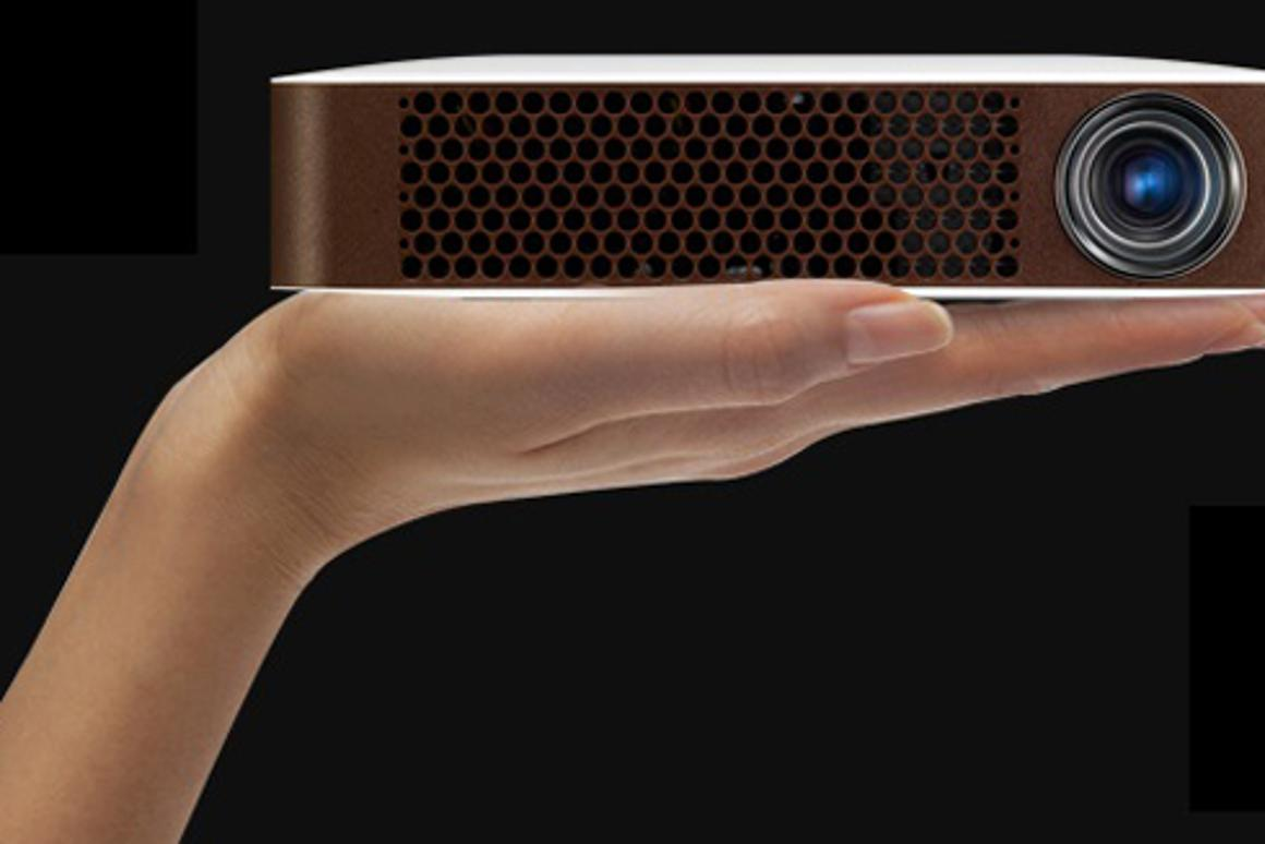 LG's Bluetooth MiniBeam projector can project images measuring from 25 to 100 in (63.5 to 254 cm)