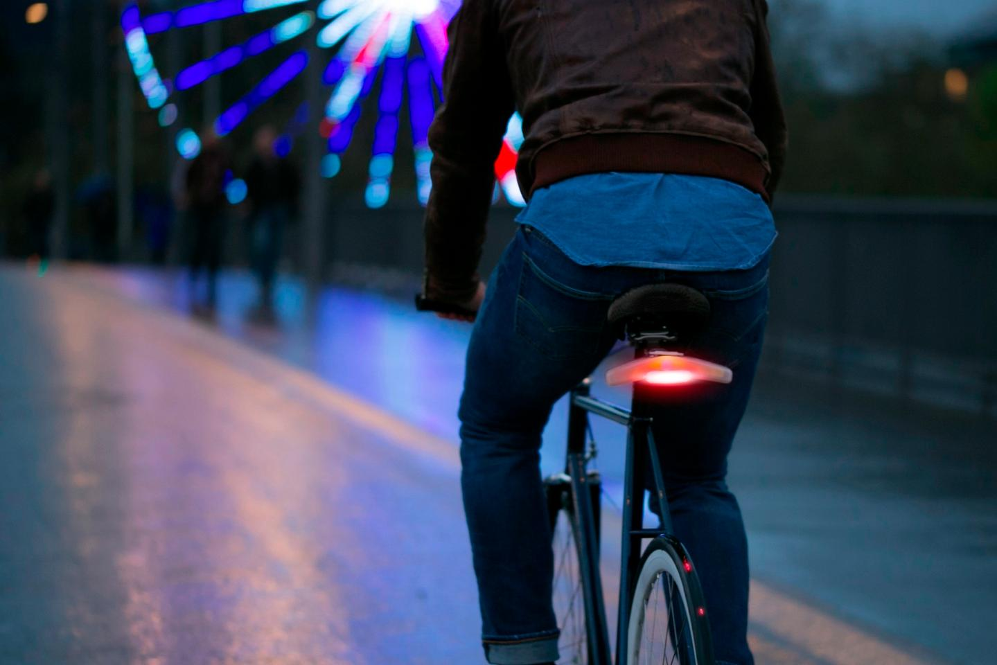 An accelerometer and gyroscope cause Blinkers' brake light to come on automatically when the bike decelerates