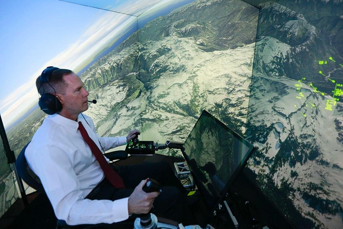 Retired United States Air Force Colonel Gene Lee takes part in simulated air combat versus artificial intelligence technology