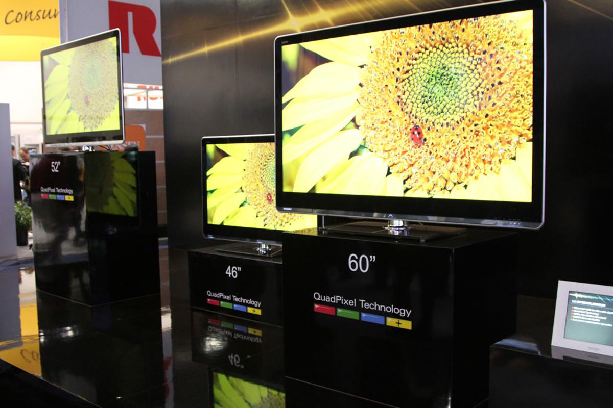 Sharp displayed the Aquos television series featuring brilliant-color technology at CES 2010