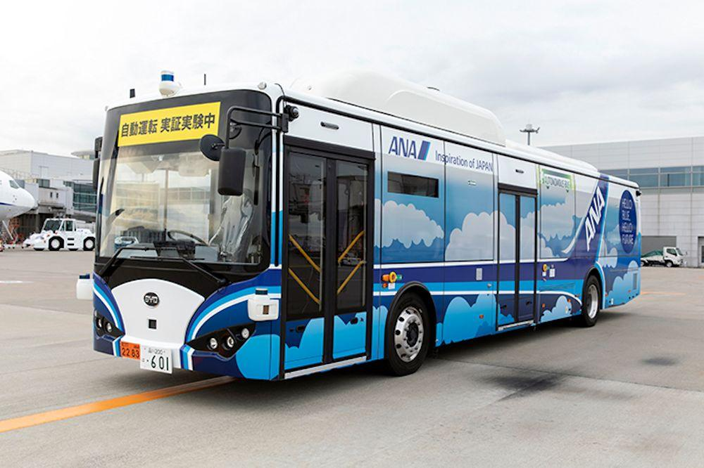 The autonomous electric bus will drive itself along a 1.18-mile segment at Haneda International Airport during the trial