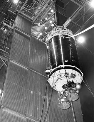 A Centaur booster being mated to an Atlas first stage