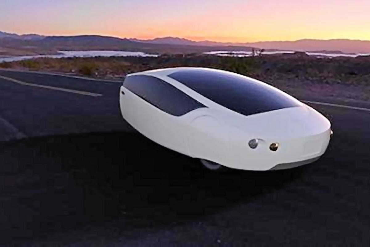 Rendering of the Urbee 2 overlooking a city at sunset (Photo: Kor EcoLogic)
