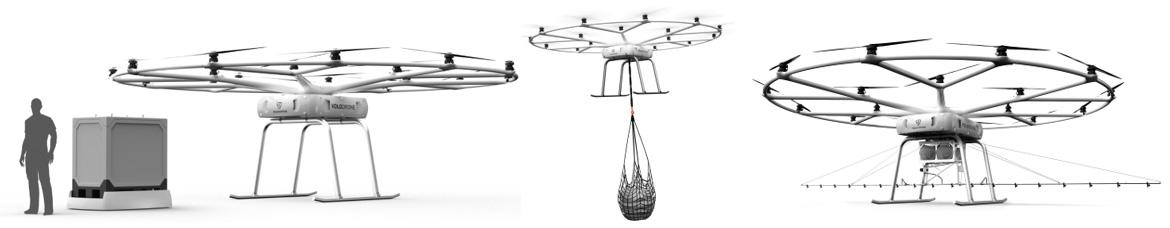 The Volodrone can be equipped with a variety of carrying mechanisms