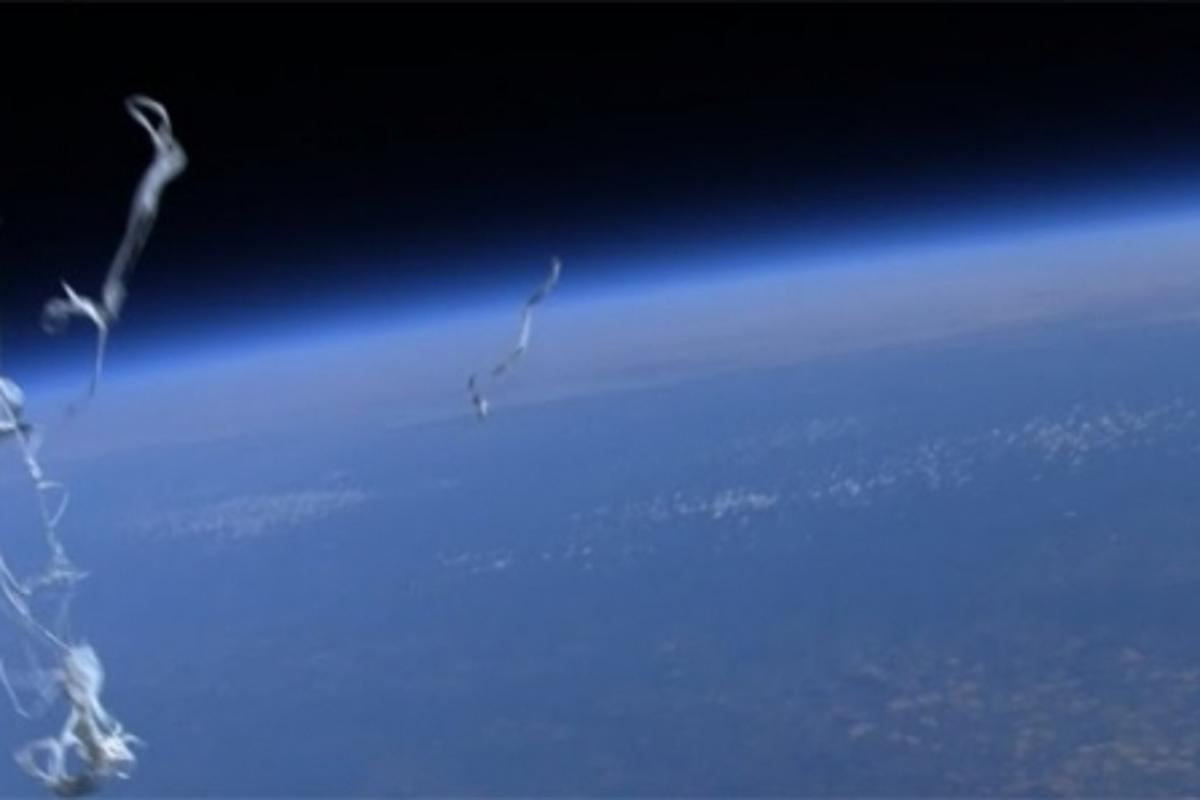 A snap showing the balloon popped at high altitude