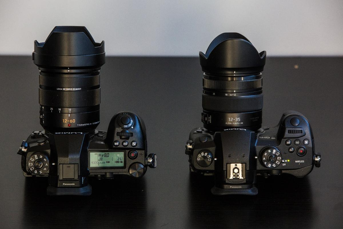 Left: G9. Right: GH5. The LCD settings screen is the biggest differentiation here but the control schemes also differ.
