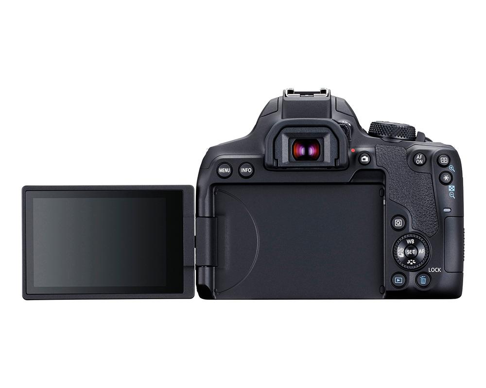 The beginner-enthusiast Rebel T8i has a vari-angle touch monitor to the rear, along with an optical viewfiinder and quick control dial