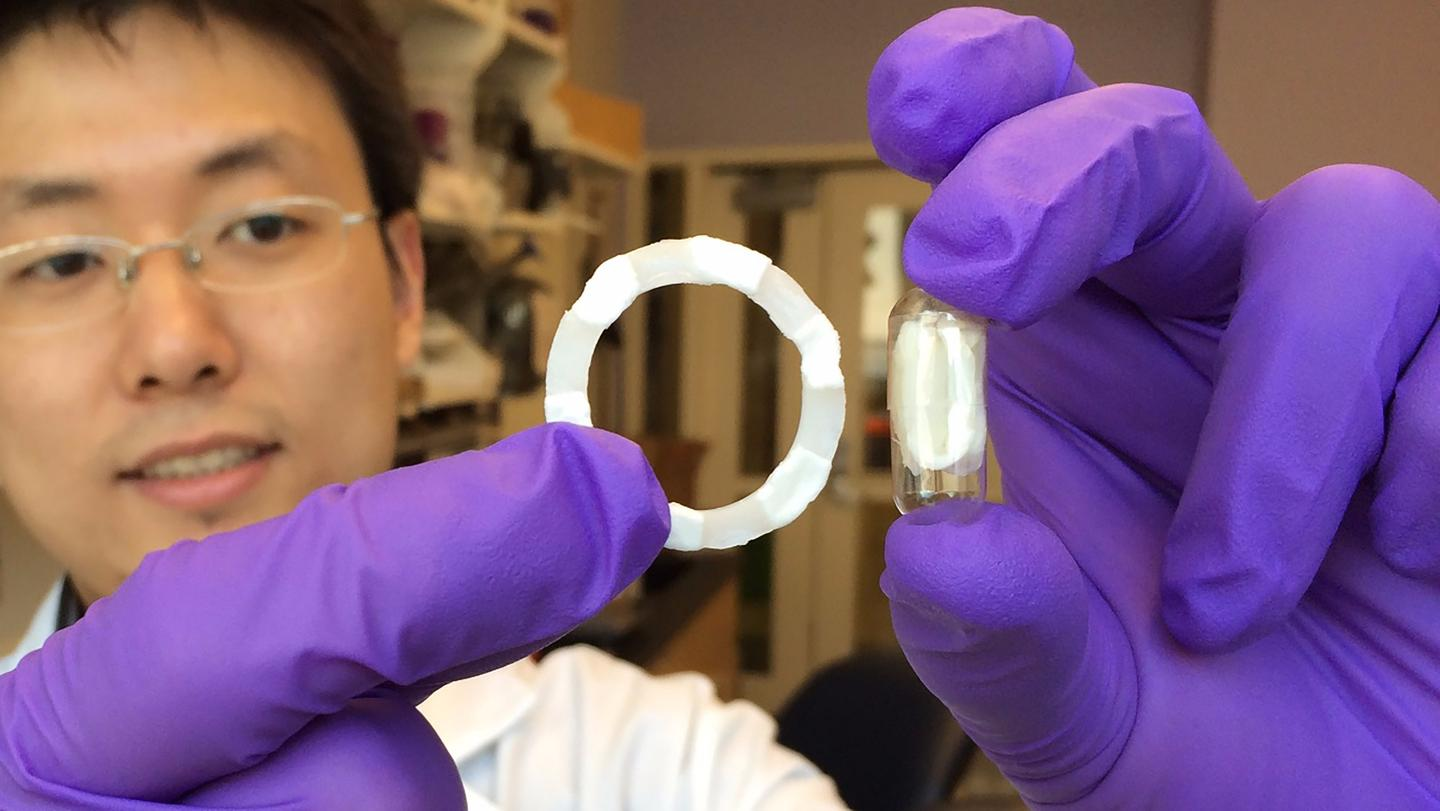 The researchers fabricated several prototypes using the new material, including a ring-shaped device