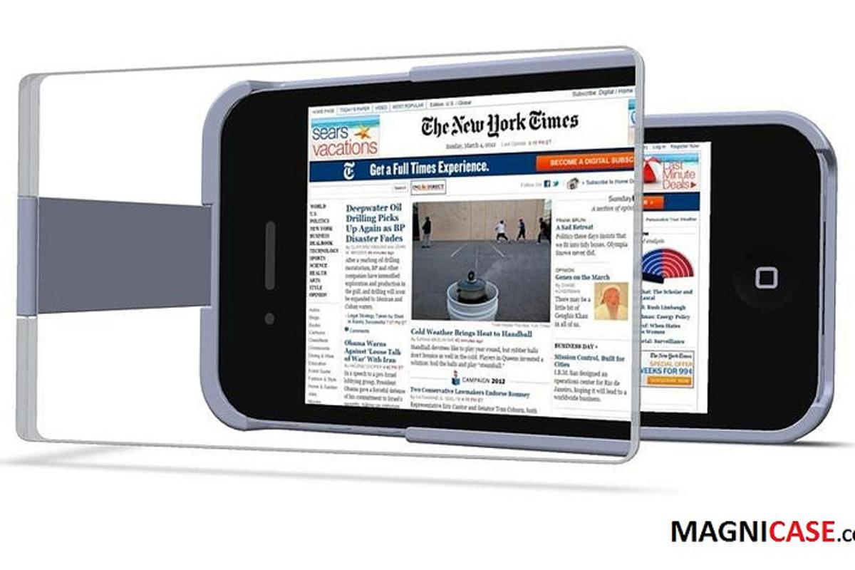The MagniCase magnifies the display of the iPhone 4/4S by 1.5x