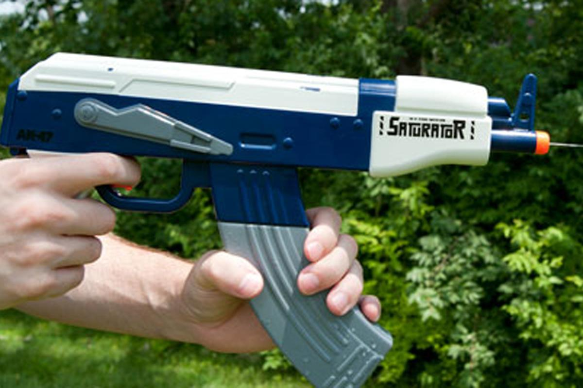 The Saturator AK-47 Automatic Water Gun can shoot a continuous stream of water bullets up to a distance of 20 feet
