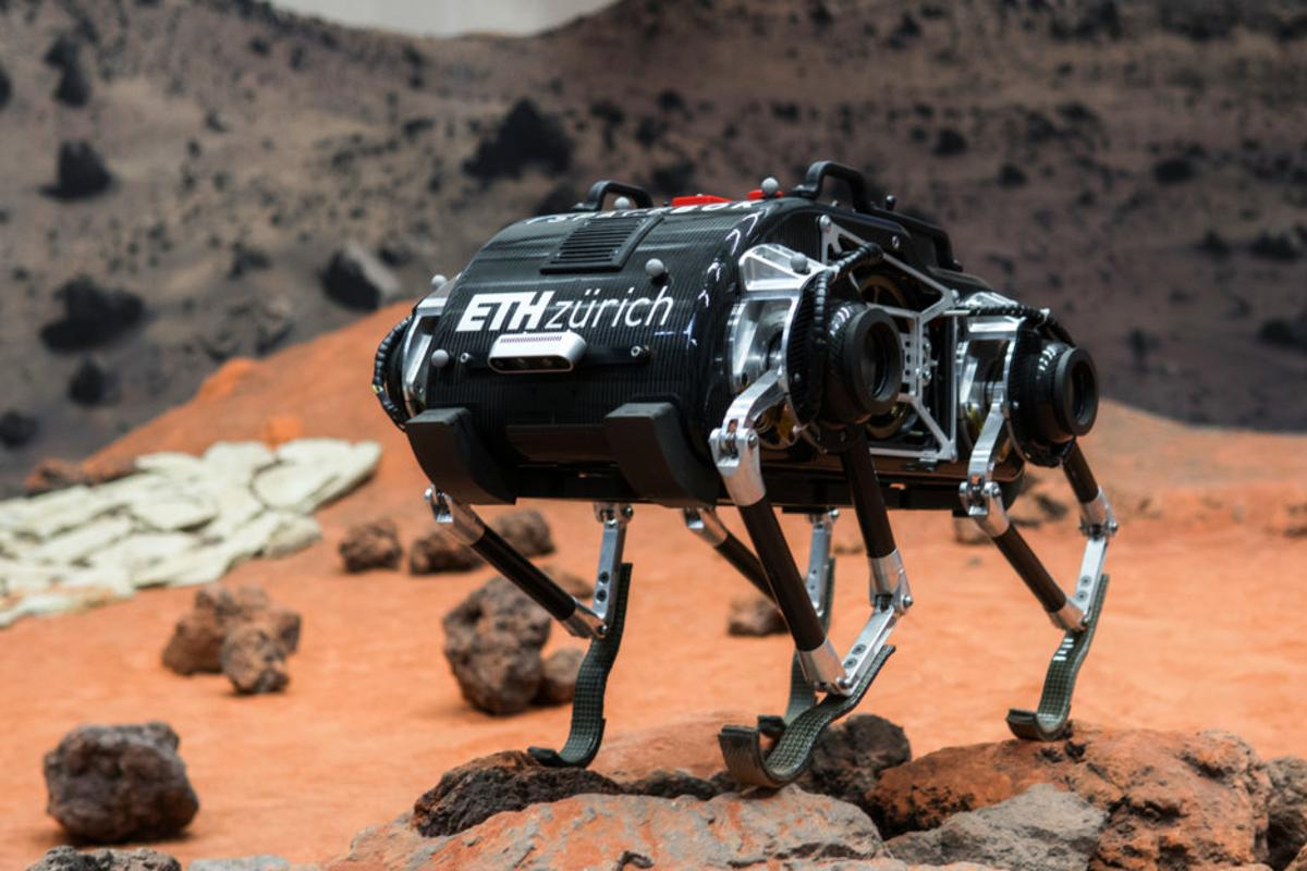 The SpaceBok robot is designed to bound around low-gravity environments