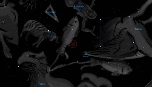 The planet is (Image: Stellarium, used under GNU GPL)