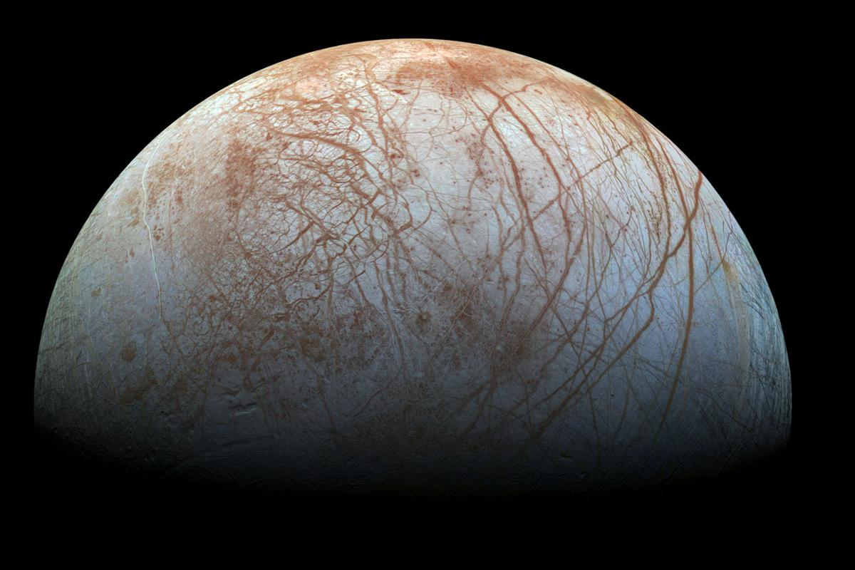 A global saltwater ocean is thought to be hiding beneath Europa's icy exterior