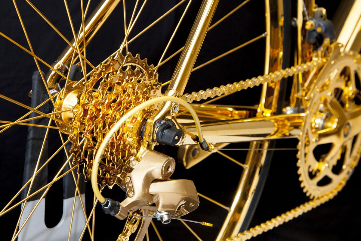 Goldgenie's 24 karat gold-plated bicycle: golden gear cluster