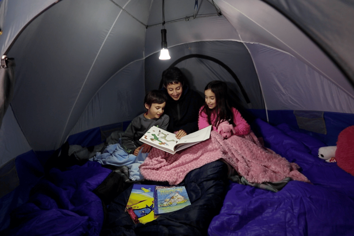 Among it's functions, the Lantern can be hung the from the roof and used as a convenient tent light
