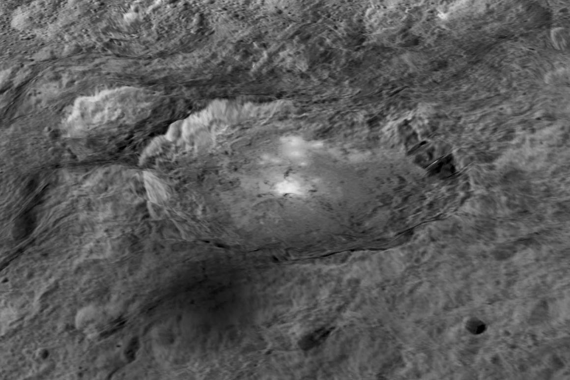 3D rendering of the Occator crater, constructed from images taken by NASA's Dawn spacecraft