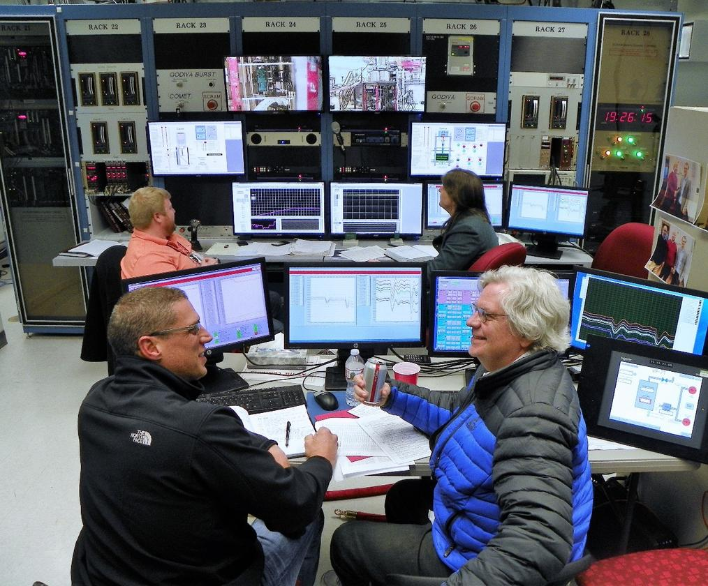 Kilowatt Reactor Using Stirling TechnologY (KRUSTY) control room during the full-power run