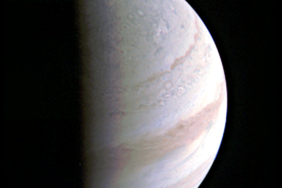 Image returned from Juno of Jupiter's north pole