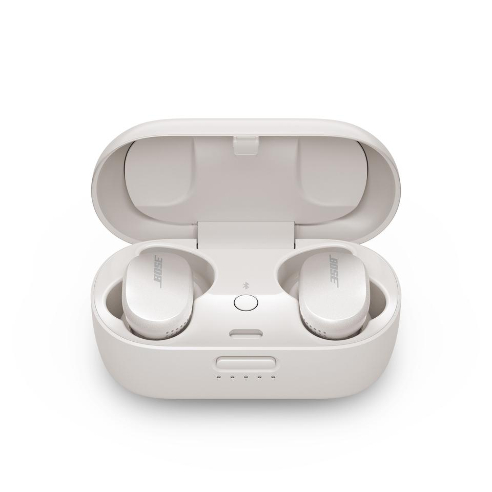 The QC Earbuds have a battery life of 6 hours, with the charging case offering a further 12
