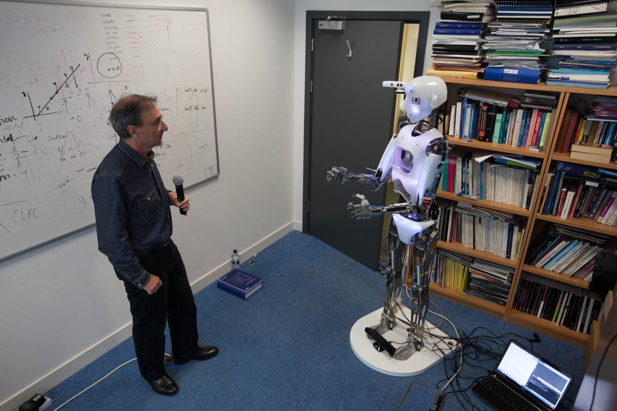Robothespian, used as a beaming avatar (Photo: Tim Weyrich, UCL)