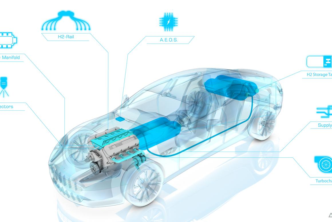 Hybrid Hydrogen Rapide S is programmed to run on gas, hydrogen, or a mix of both