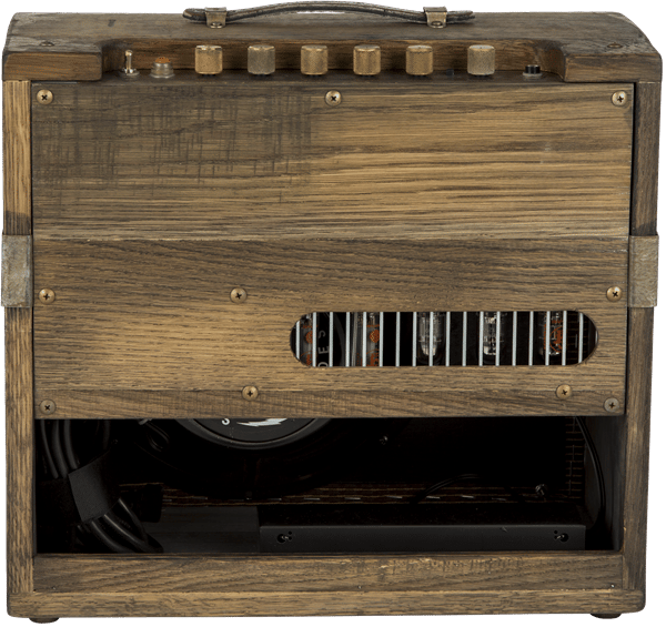 The 80 Proof Blues Junior has a single 12-inch Jensen speaker,three 12AX7 preamp tubes and two EL84 power tubes and cooked-in spring reverb and FAT boost