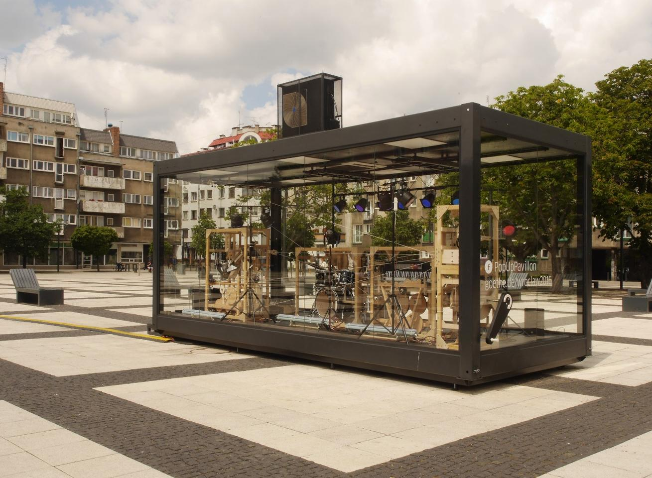 The Music Construction Machine was installed in the Goethe-Institut Pop Up Pavillion in Wroclaw, Poland