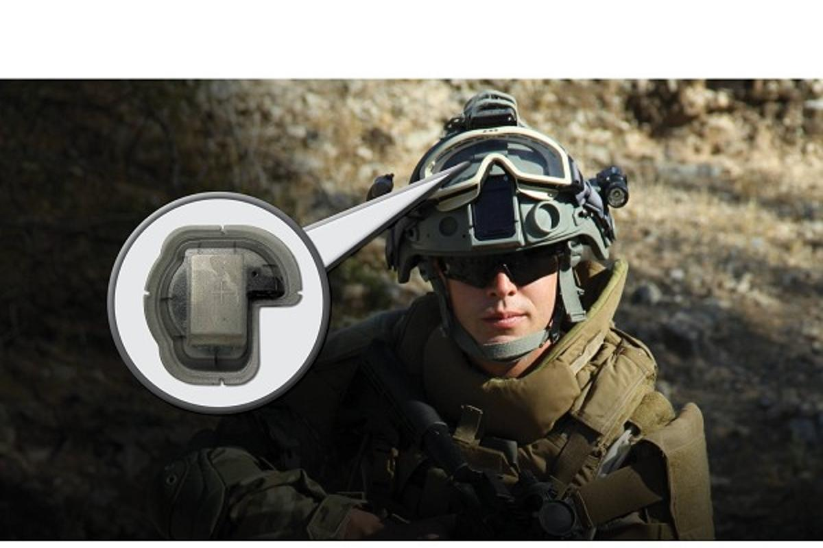 The Generation II HEADS helmet sensor indicates when soldiers have received a concussive blow to the head