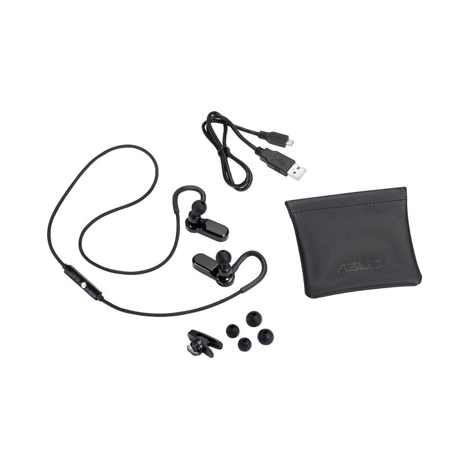 The Asus EB50N NFC-enabled BT 4.0 earphones come supplied with a carry pouch, a USB charging cable and three different sized buds