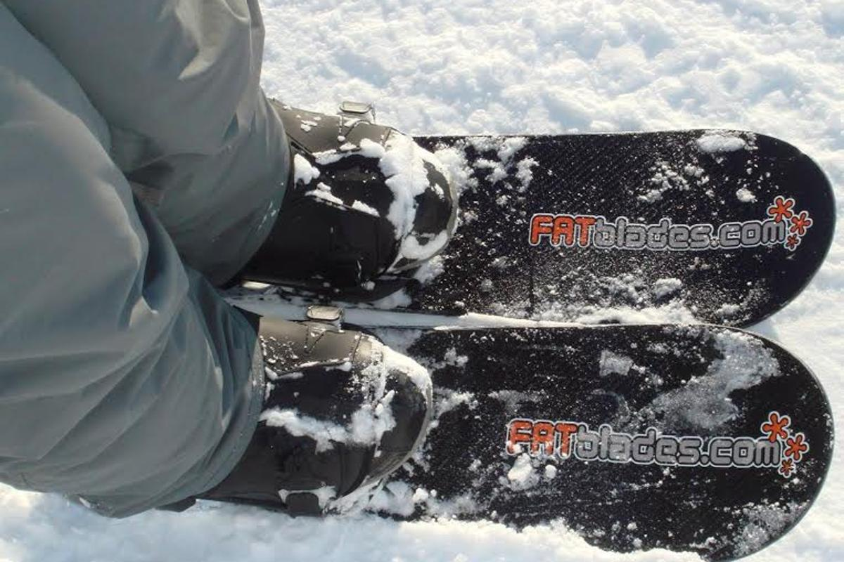 The extra width compared to traditional skis allows for a larger surface area, which the company says elevates the rider to the surface of the snow