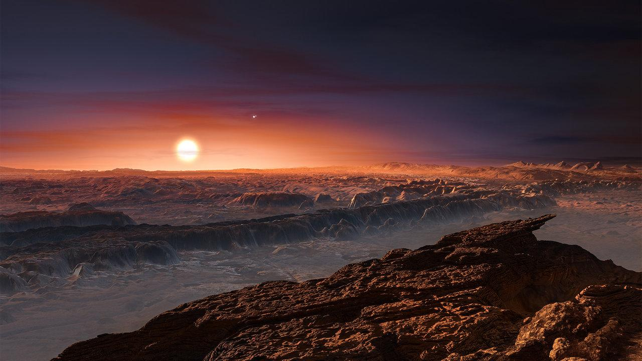 Artist's impression of Proxima Centauri seen from the surface of Proxima b