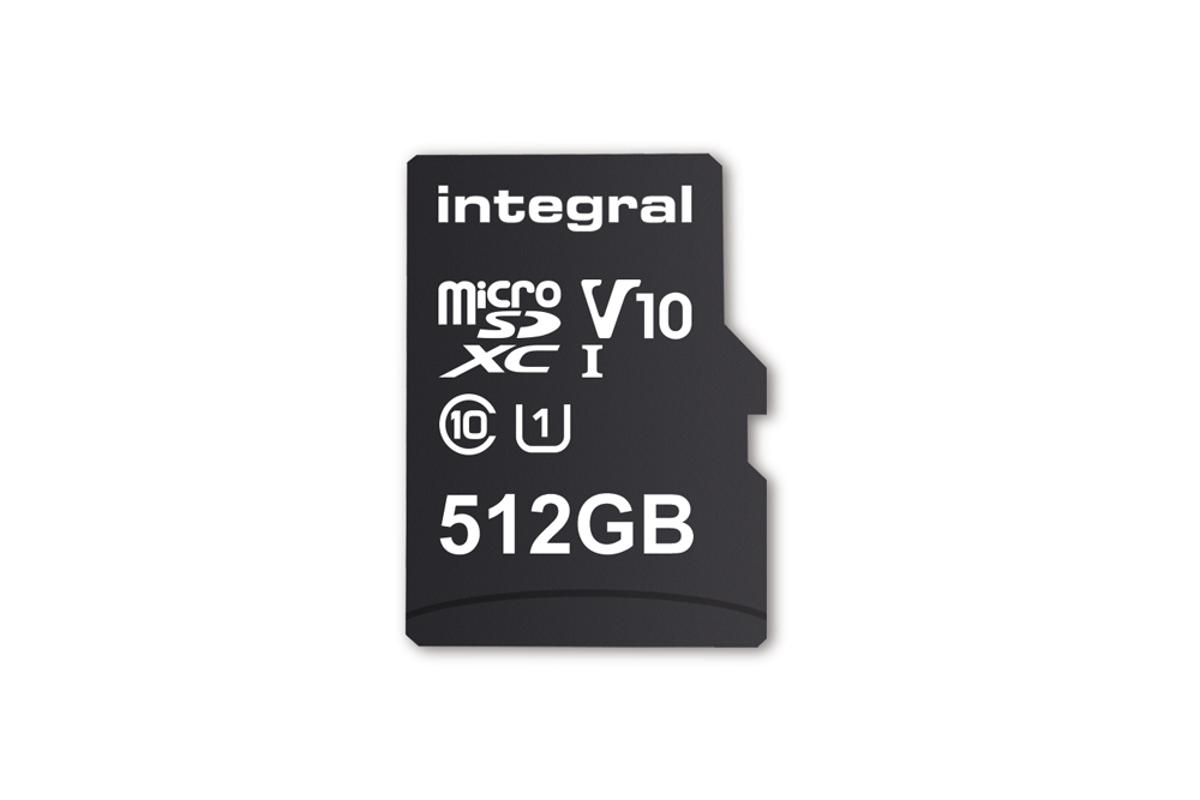 Half a terabyte of storage for mobile devices is now a reality thanks to Integral's 512 GB microSDXC V10, UHS-I U1 card