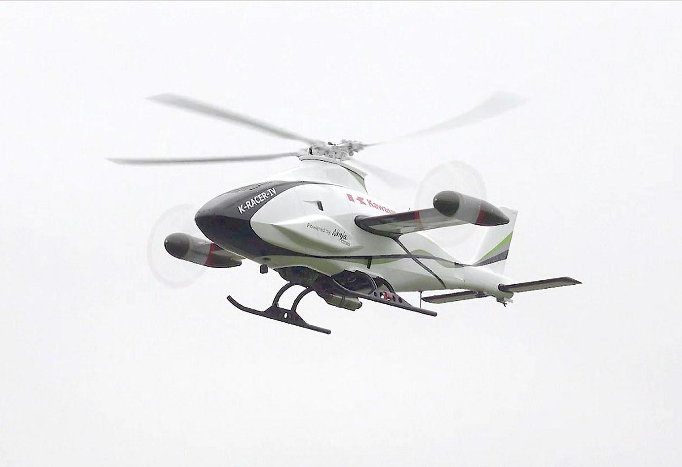 Kawasaki has tested its K-Racer autonomous compound helicopter, powered by the 300-horsepower, supercharged H2R motor