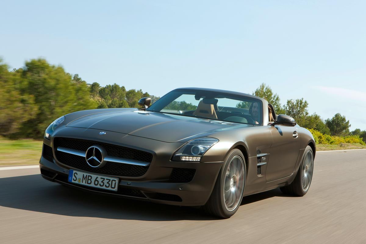 The Mercedes-Benz SLS AMG Roadster ditches the gull-wings of the Coupe for a soft top