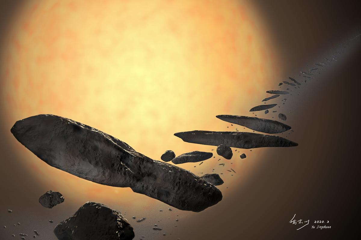 An artist's impression of how 'Oumuamua may have formed from a planet being torn apart by a star