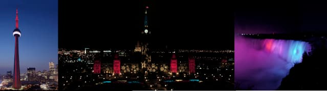 The Ontario landmarks that will get lit up - The CN Tower, the Parliament buildings, and Niagara Falls.