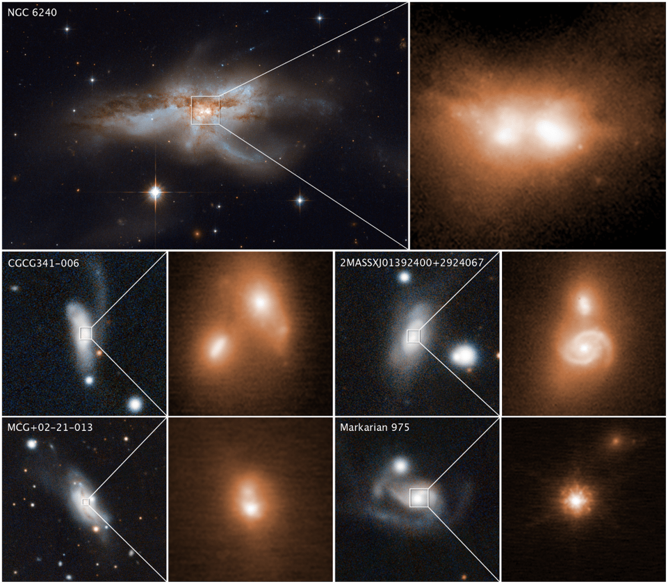 The images of the final stages of galactic collisions, where the supermassive black holes merge into one