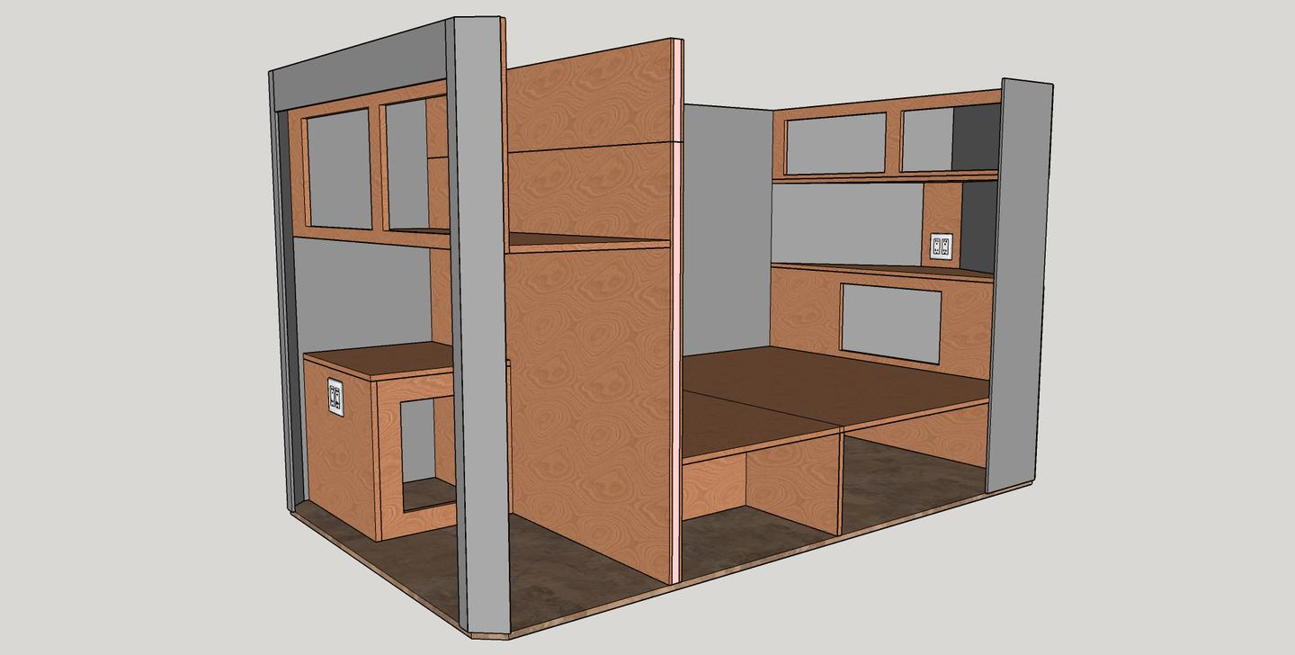 It's hard to tell from this diagram, butthe smaller 5 x 8-foot trailer shares its basic interior layout with the larger model, complete with convertible dual-bench dinette/bed