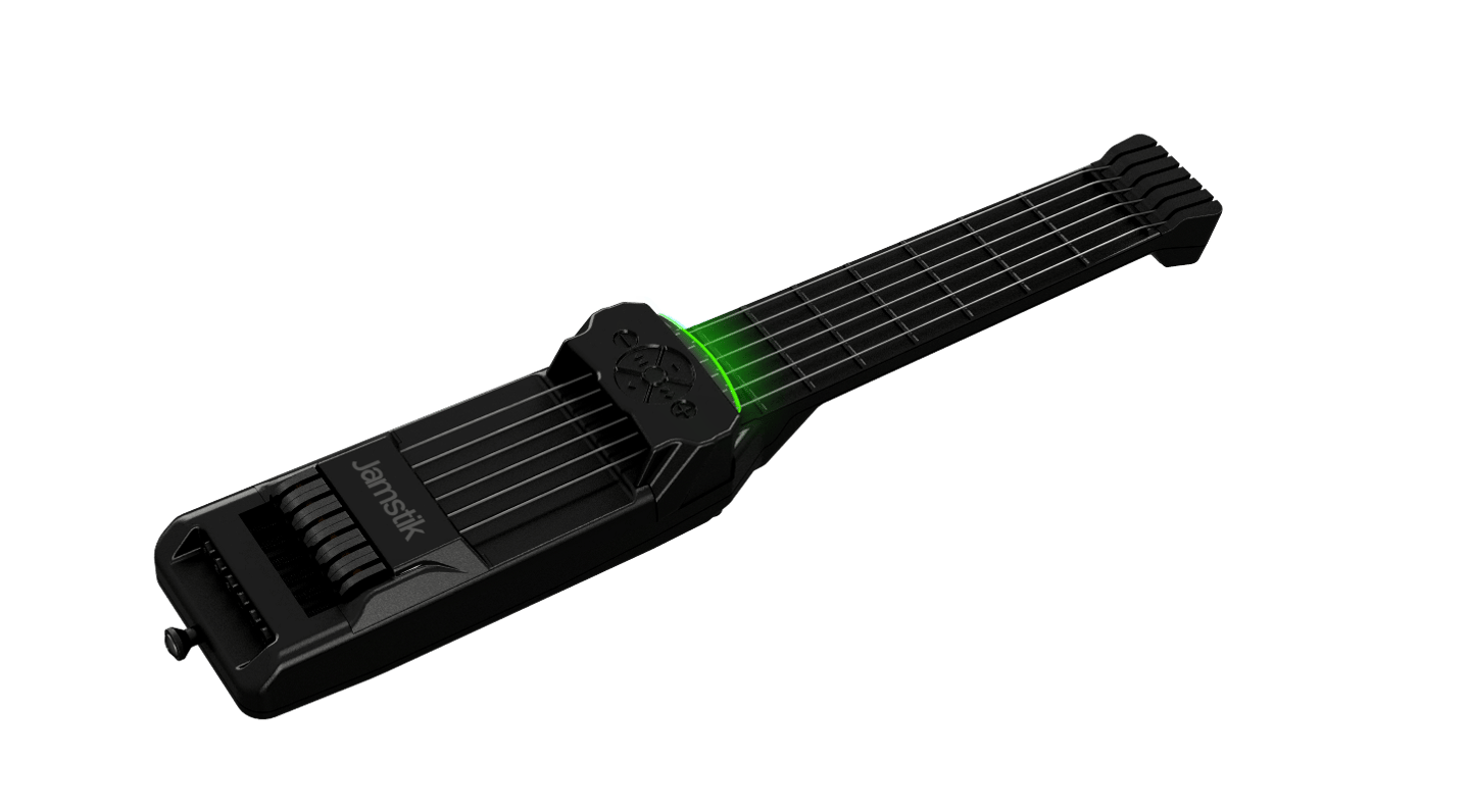 The Jamstik 7 has two more frets than previous generations, and both a capacitive fretboard and optical sensing technology