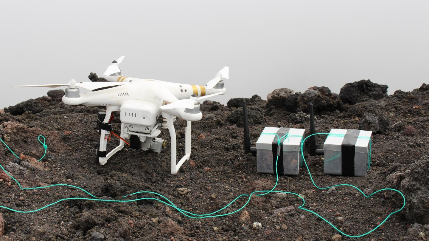 A drone and a couple of the dragon eggs (with green release cords), atop Mount Stromboli