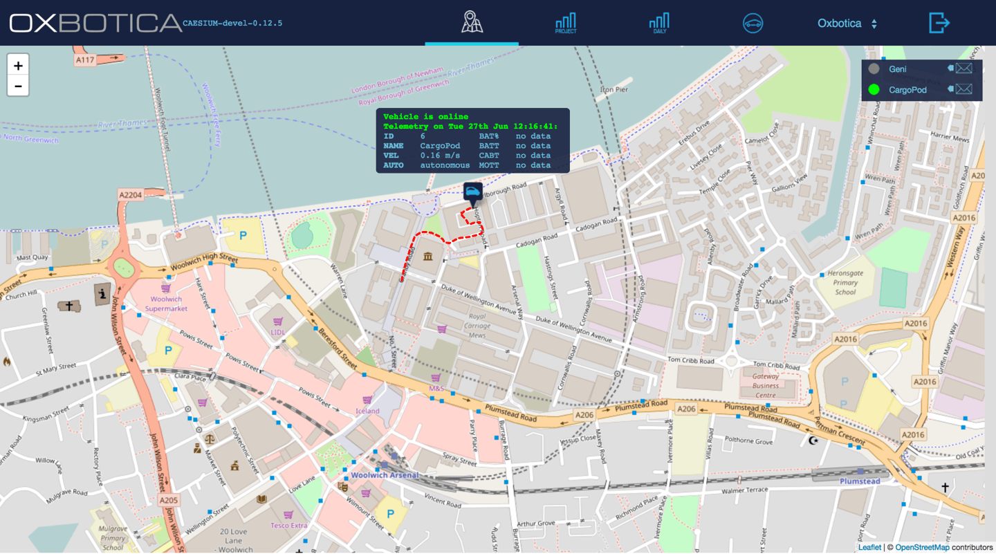 Oxbotica's cloud-based fleet management software is used to schedule the CargoPod deliveries