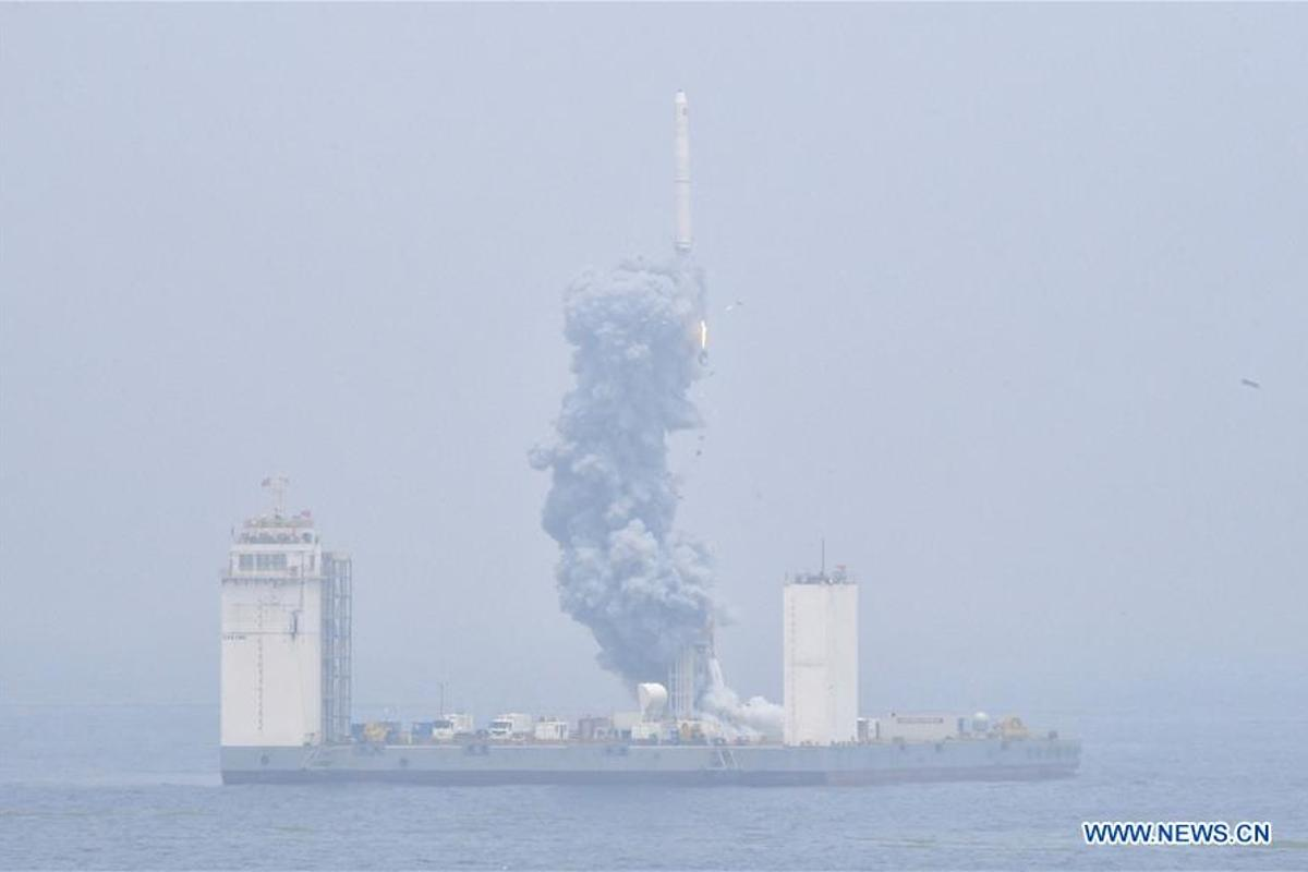 China's Long March-11 rocket took off from a mobile launch platform stationed in the Yellow Sea