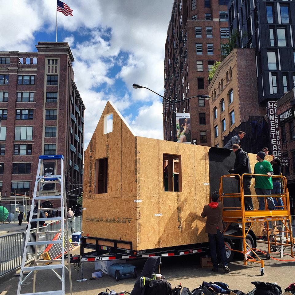 A group of 10 people worked on the towable tiny house for just 72 hours before putting it up for sale on eBay