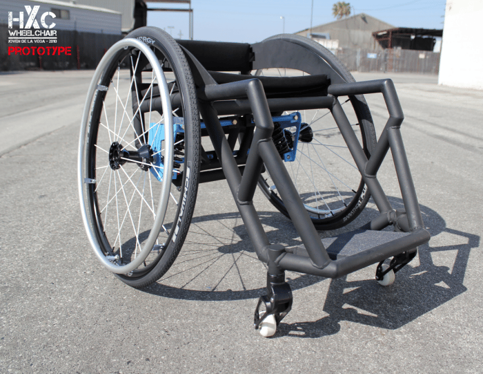 The prototype HXC wheelchair, designed for performing stunts in skateparks