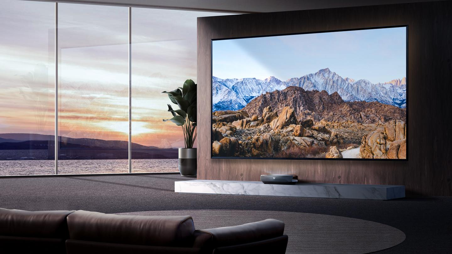 The L9G can throw 4K visuals at up to 120 diagonal inches, with Dolby Atmos immersive audio included